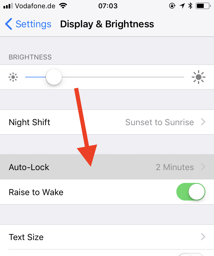 iPhone Display settings